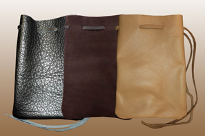 Large LEATHER Pouch with DrawString Lace