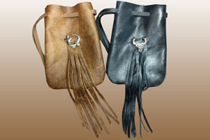 Medium Leather Pouch With Fringe- Closeout Assorted only