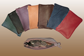 Small LEATHER Zipper Coin Case Seconds