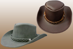 Leather COWBOY HAT with Braided Band