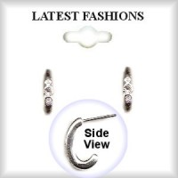 HOOP EARRINGS Silver Plated & Austrian Crystal Stones