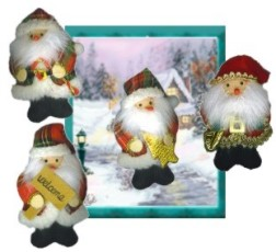 Christmas ''Pillow'' Santa Brooch Pin Assortment.