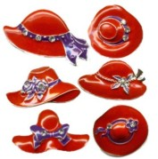 RED HAT Austrian Crystal Brooch Pins