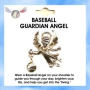Sports Guardian Angel Austrian Crystal BASEBALL Pin