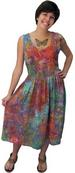 Mid-Calf Empire Waist DRESS w/Pockets in Multicolor Web Batik