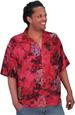Balinese Batik SHIRT for Men in Soft Red Hibiscus Motif
