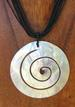 Spiral Shell Necklace with LEATHER Cord